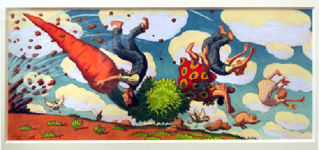 "Barry Root...""The Giant Carot"" Watercolor and Gouache on paper."